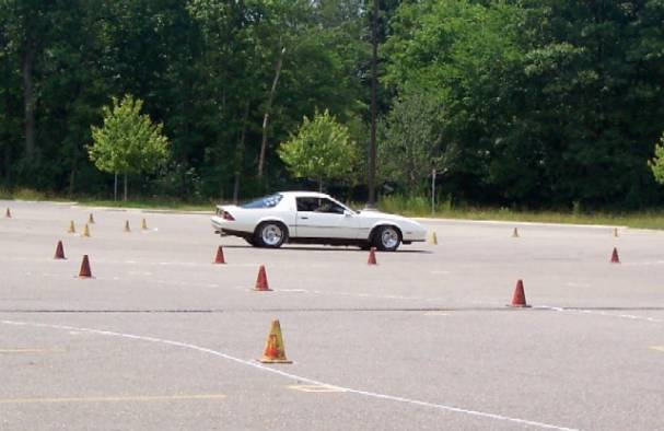 I'm taking the Berlinetta through a tight switch-back on the auto-cross course at the 2004 Superfest.